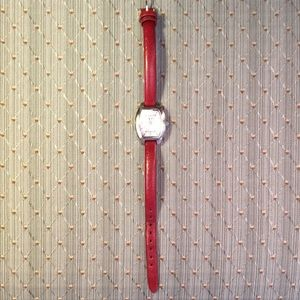 Fossil watch w/red leather strap